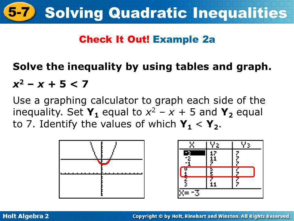 Check It Out! Example 2a Solve the inequality by using tables and graph. x2 – x + 5 < 7.