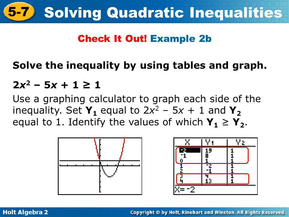 Check It Out! Example 2b Solve the inequality by using tables and graph. 2x2 – 5x + 1 ≥ 1.