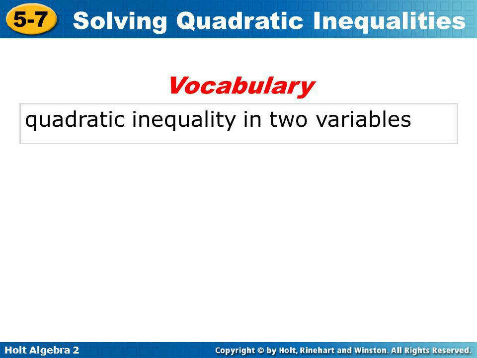 Vocabulary quadratic inequality in two variables