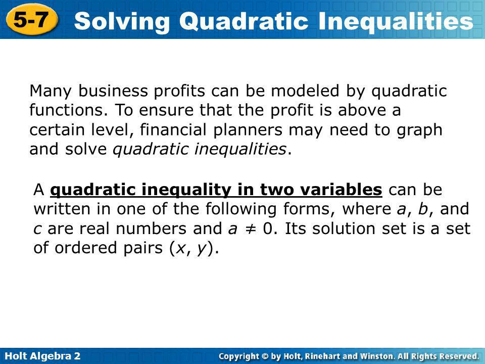 Many business profits can be modeled by quadratic functions