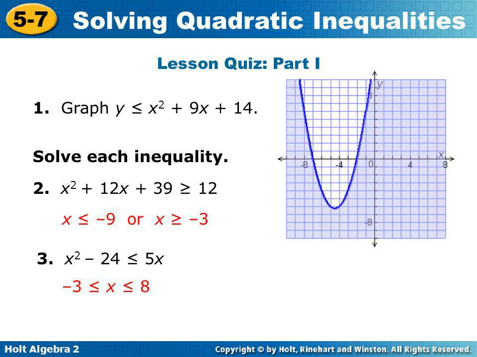 Lesson Quiz: Part I 1. Graph y ≤ x2 + 9x + 14. Solve each inequality. 2. x2 + 12x + 39 ≥ 12. x ≤ –9 or x ≥ –3.
