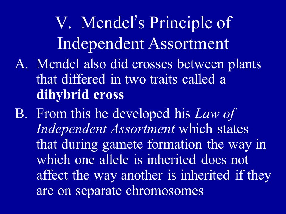 V. Mendel's Principle of Independent Assortment