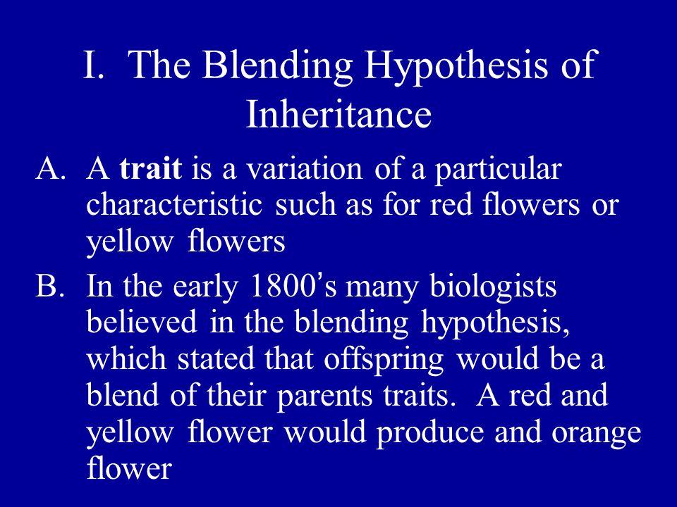 I. The Blending Hypothesis of Inheritance