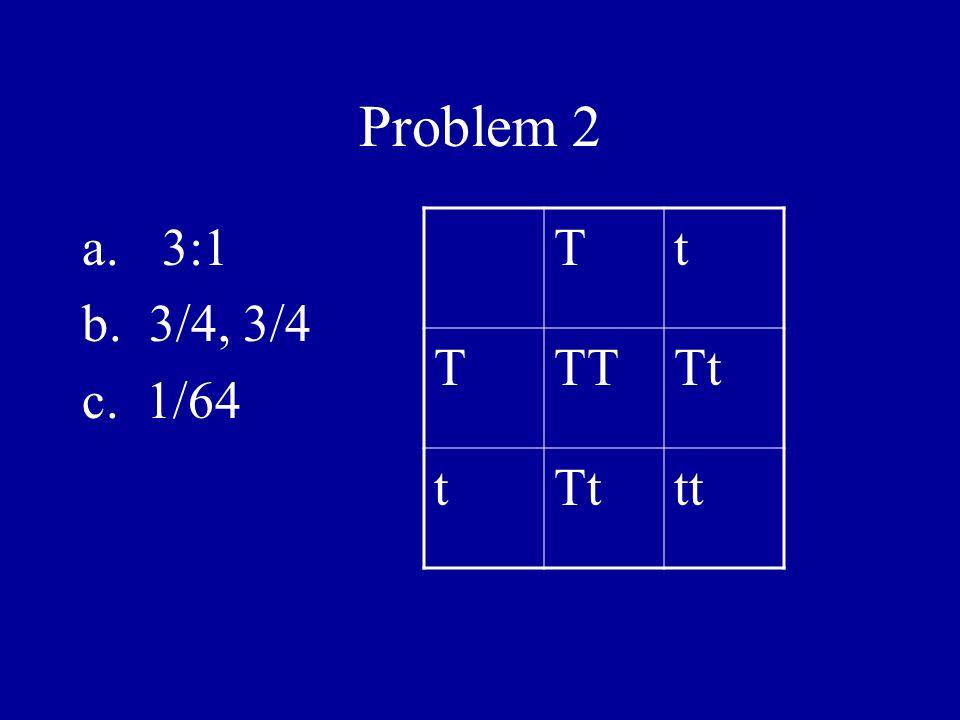 Problem 2 3:1 b. 3/4, 3/4 c. 1/64 T t TT Tt tt