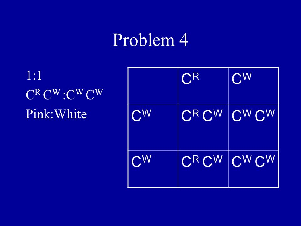 Problem 4 1:1 CR CW :CW CW Pink:White CR CW CR CW CW CW