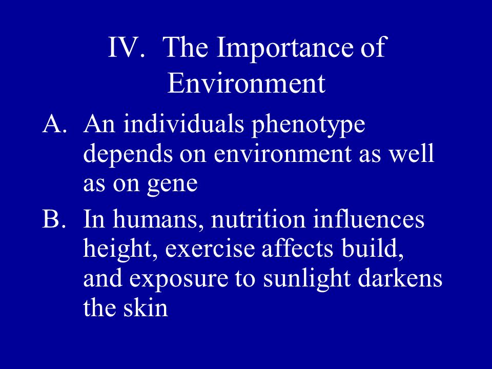 IV. The Importance of Environment