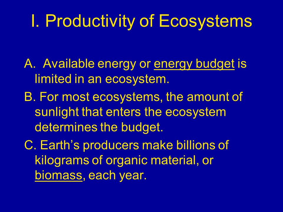 I. Productivity of Ecosystems
