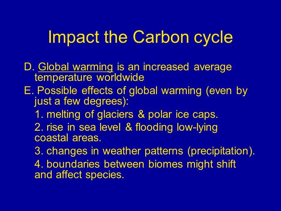 Impact the Carbon cycle