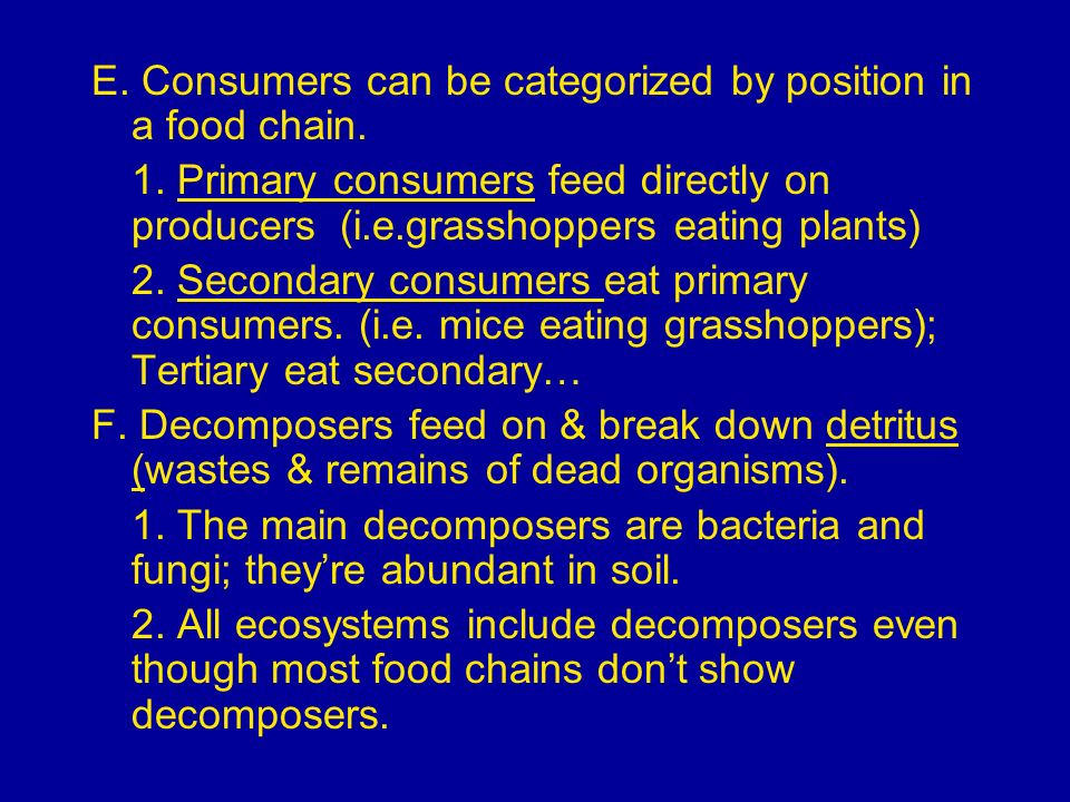 E. Consumers can be categorized by position in a food chain.