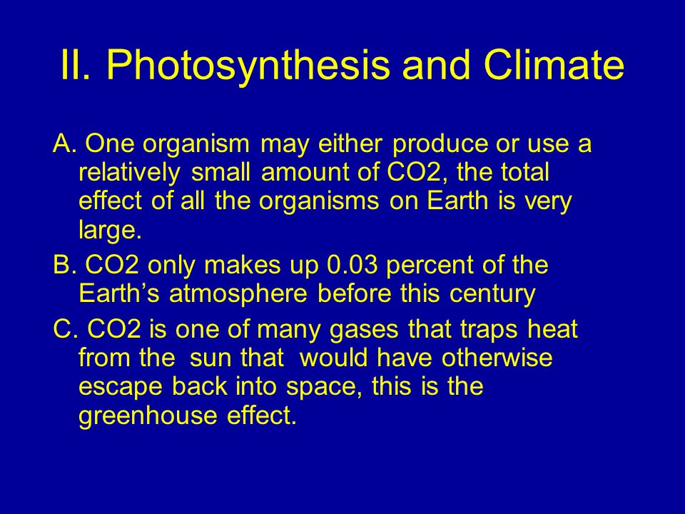 II. Photosynthesis and Climate
