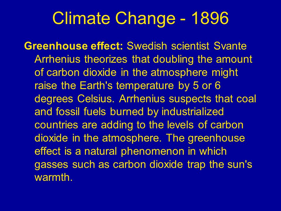 Climate Change - 1896