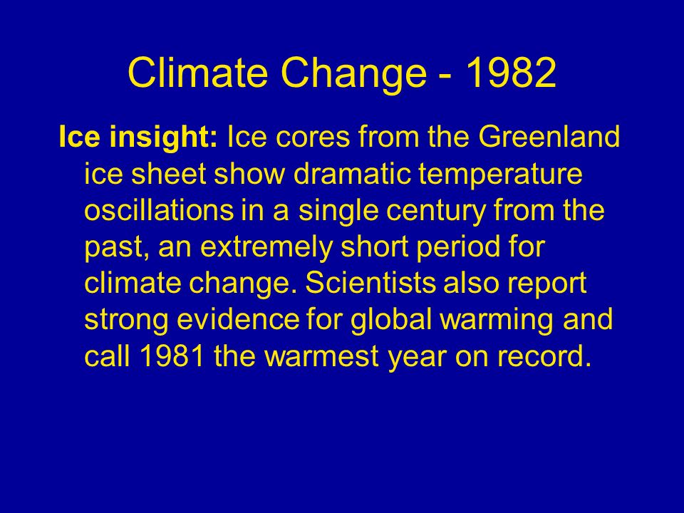 Climate Change - 1982