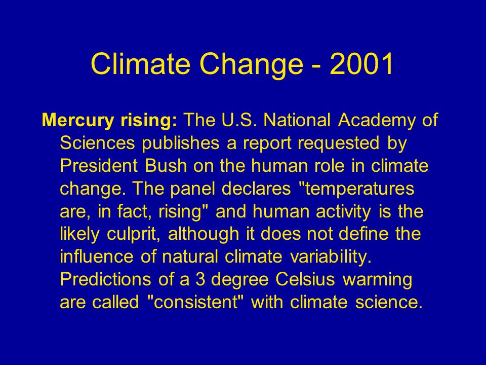 Climate Change - 2001