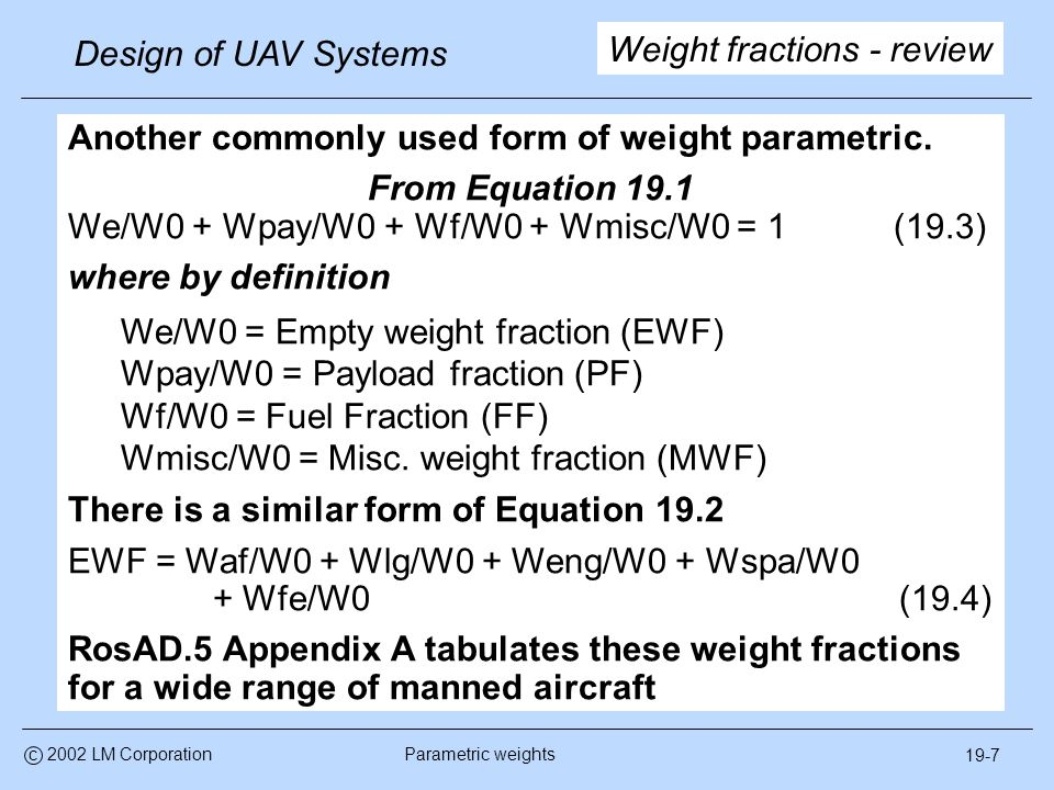 Parametric weight methods - ppt video online download