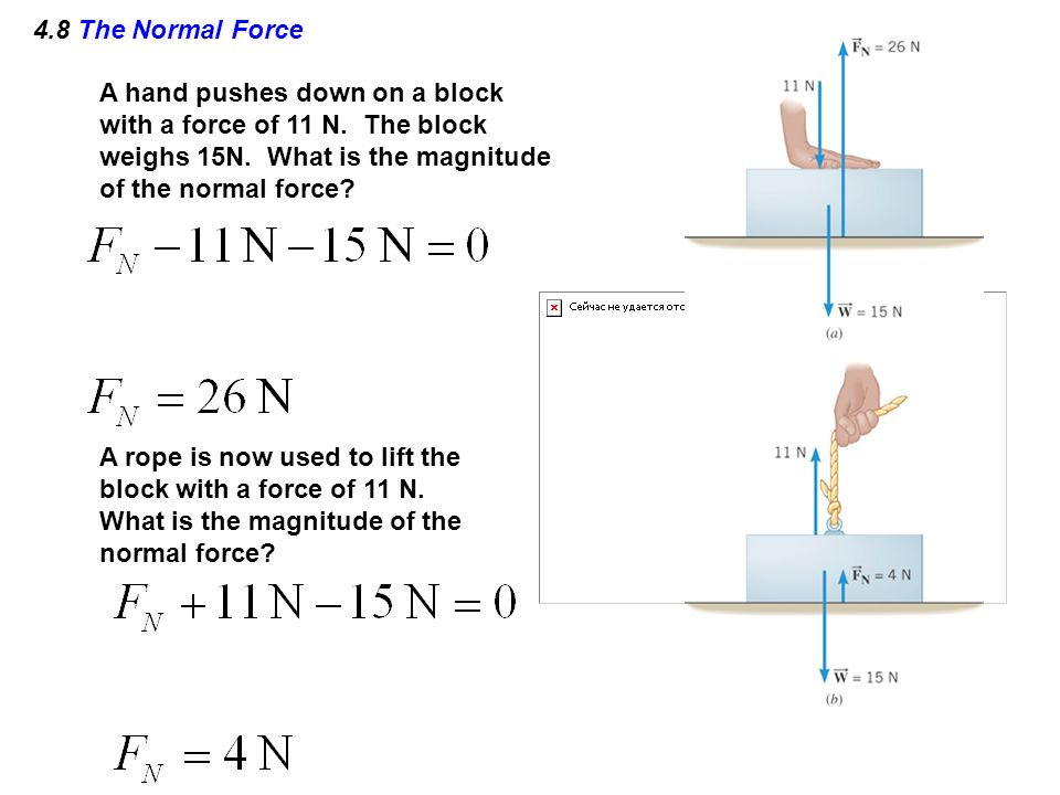 4.8 The Normal Force A hand pushes down on a block with a force of 11 N. The block weighs 15N. What is the magnitude of the normal force