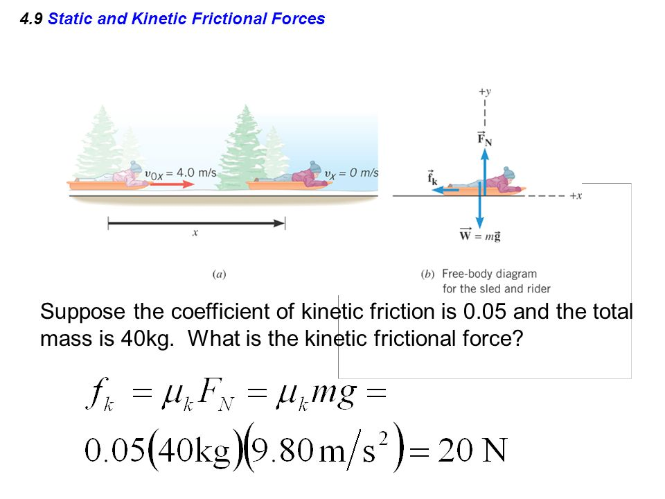 mass and kinetic friction Kinetic friction formula questions: 1) a worker in a stock room pushes a large cardboard box across the floor the coefficient of kinetic friction is μ k = 0520 the box has a mass of 750 kg, and the worker is exerting a force of 4000 nforward.