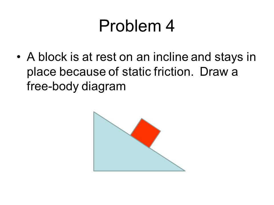 Problem 4 A block is at rest on an incline and stays in place because of static friction.