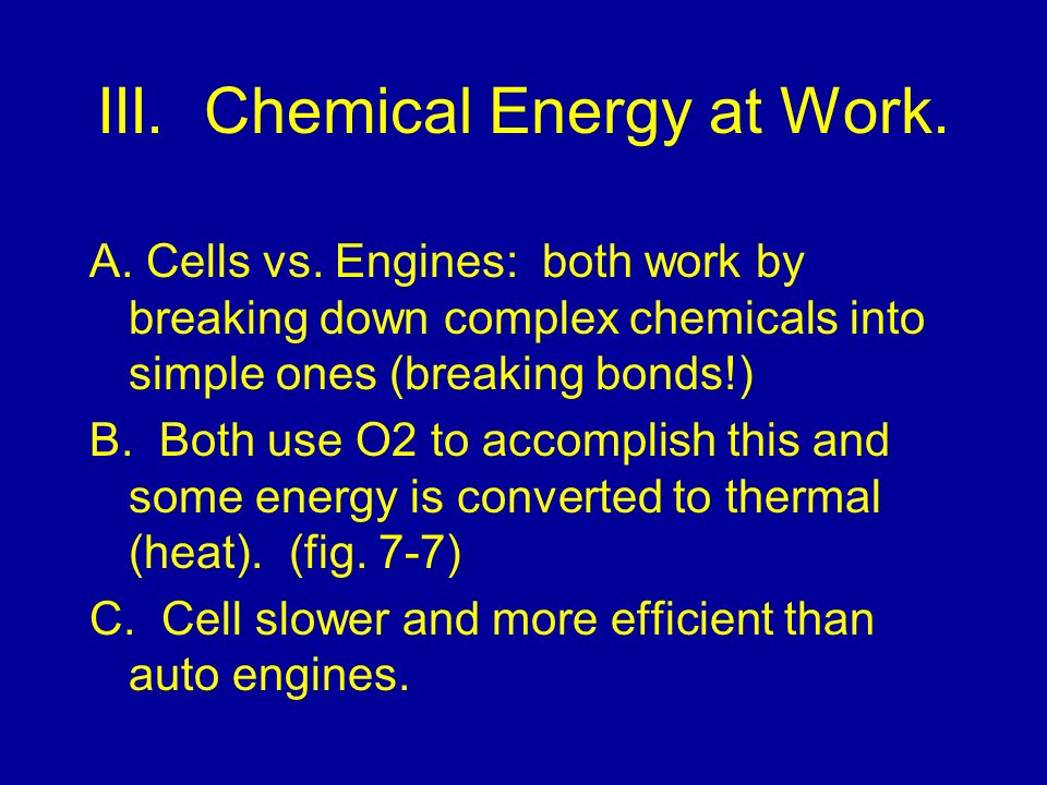 III. Chemical Energy at Work.