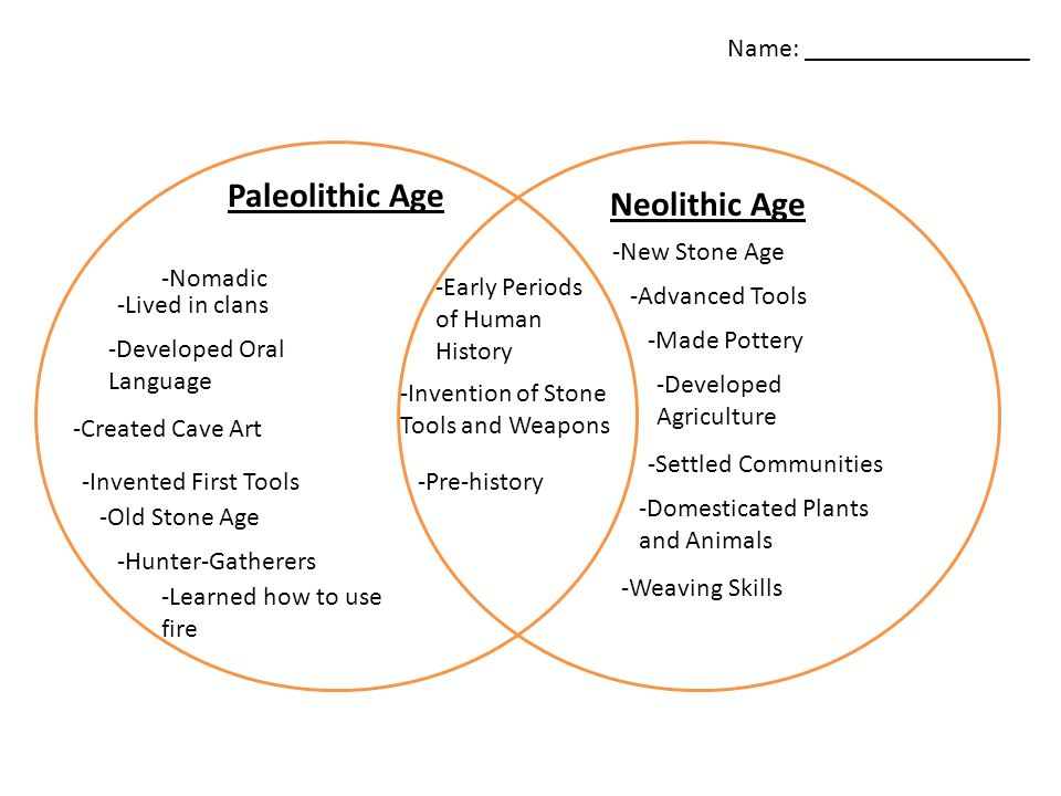 Similarities and differences between the paleolithic and neolithic era