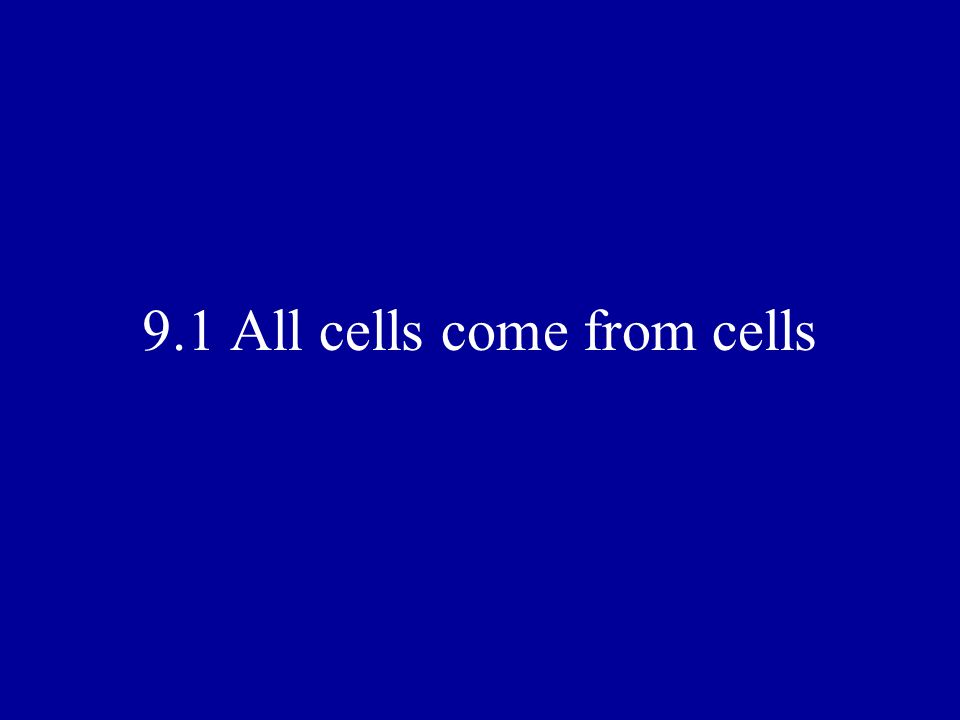 9.1 All cells come from cells