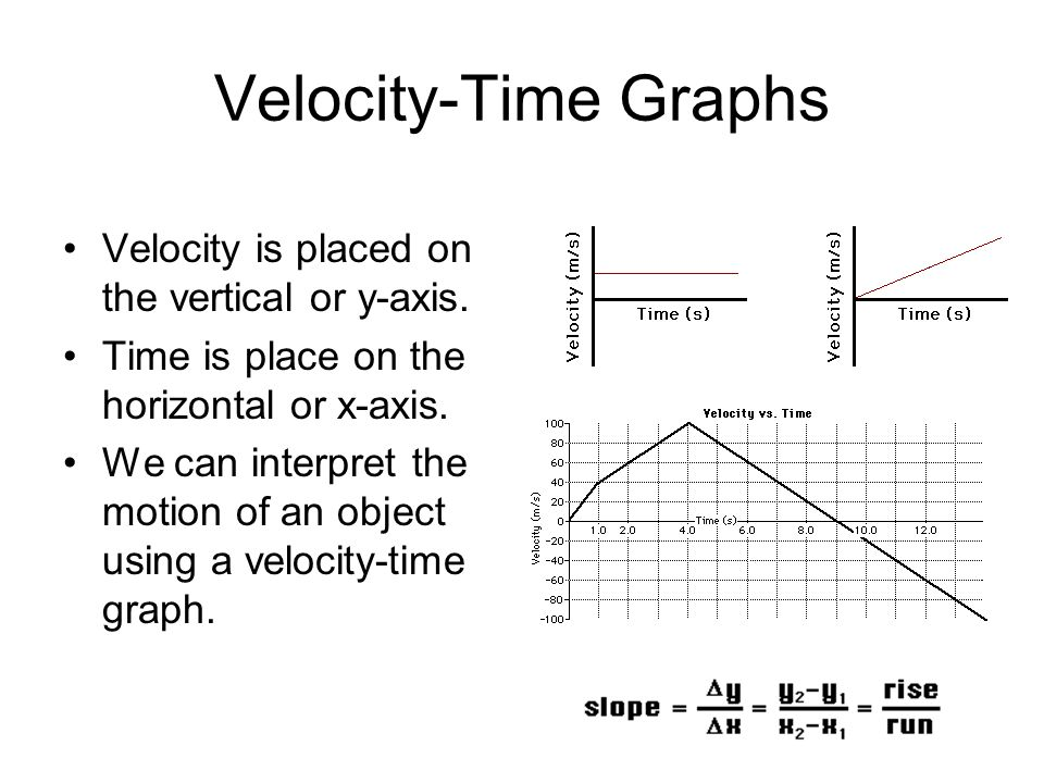 Velocity-Time Graphs Velocity is placed on the vertical or y-axis.