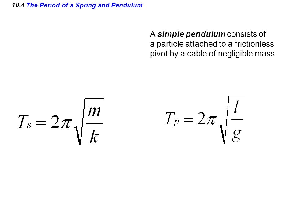 10.4 The Period of a Spring and Pendulum