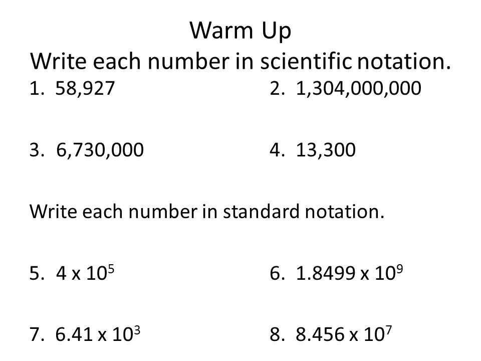write a number in scientific notation Calculator to multiply, divide and convert numbers written in scientific notation calculator will generate a step by step expalnation for each operation.
