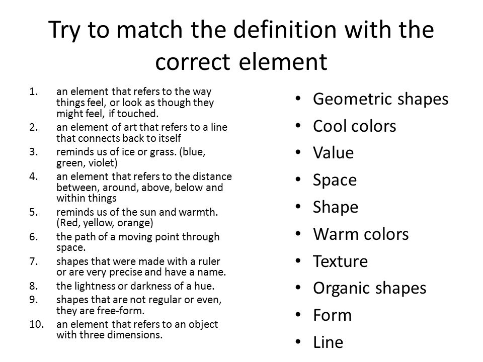 Elements Of Art Value Definition : Elements and principles what is art test review ppt