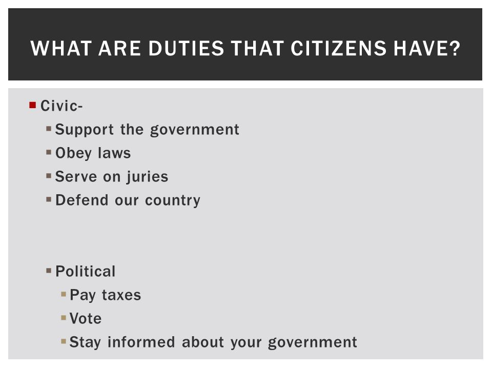 What are duties that citizens have