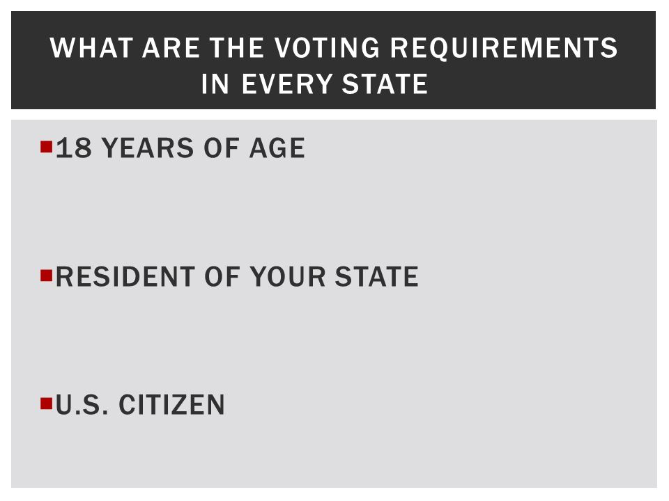 WHAT ARE THE VOTING REQUIREMENTS IN EVERY STATE