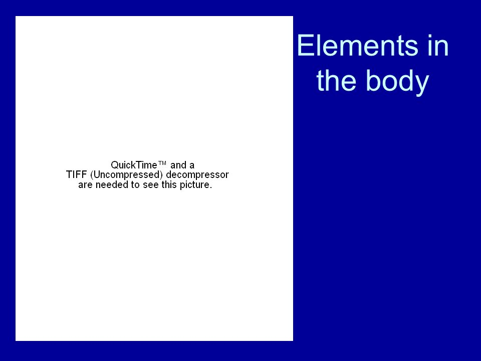 Elements in the body