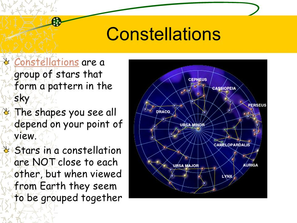 Constellations Constellations are a group of stars that form a pattern in the sky. The shapes you see all depend on your point of view.