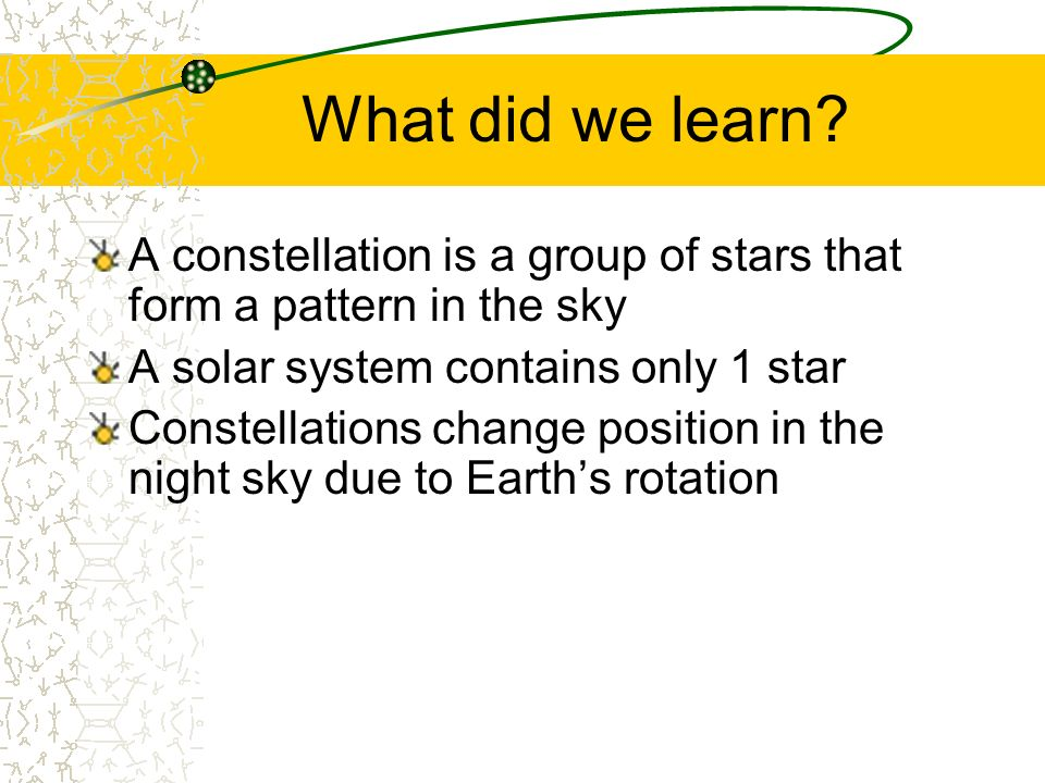 What did we learn A constellation is a group of stars that form a pattern in the sky. A solar system contains only 1 star.