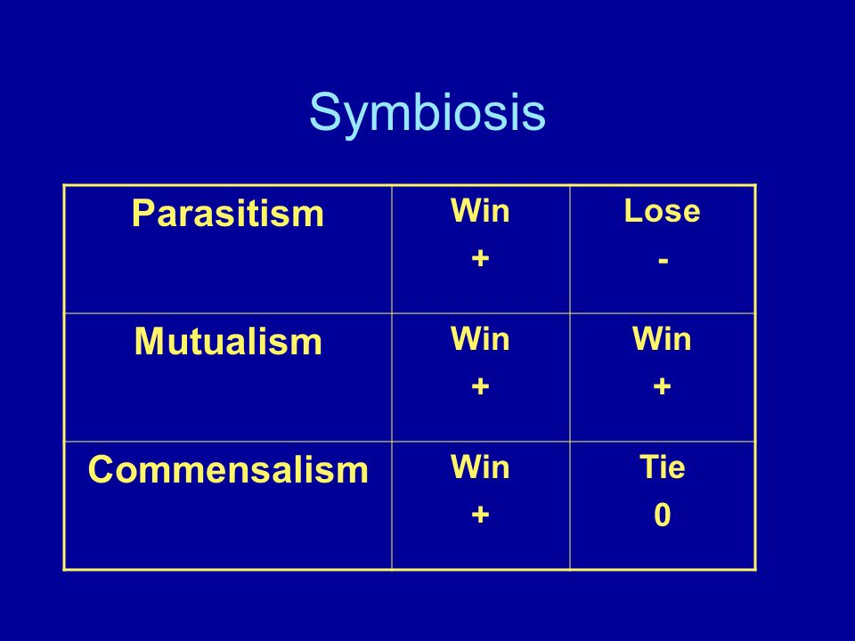 Symbiosis Parasitism Win + Lose - Mutualism Commensalism Tie