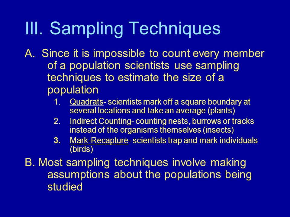 III. Sampling Techniques
