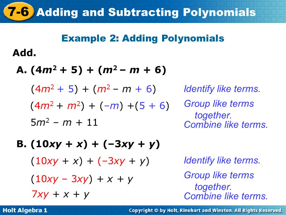 Example 2: Adding Polynomials