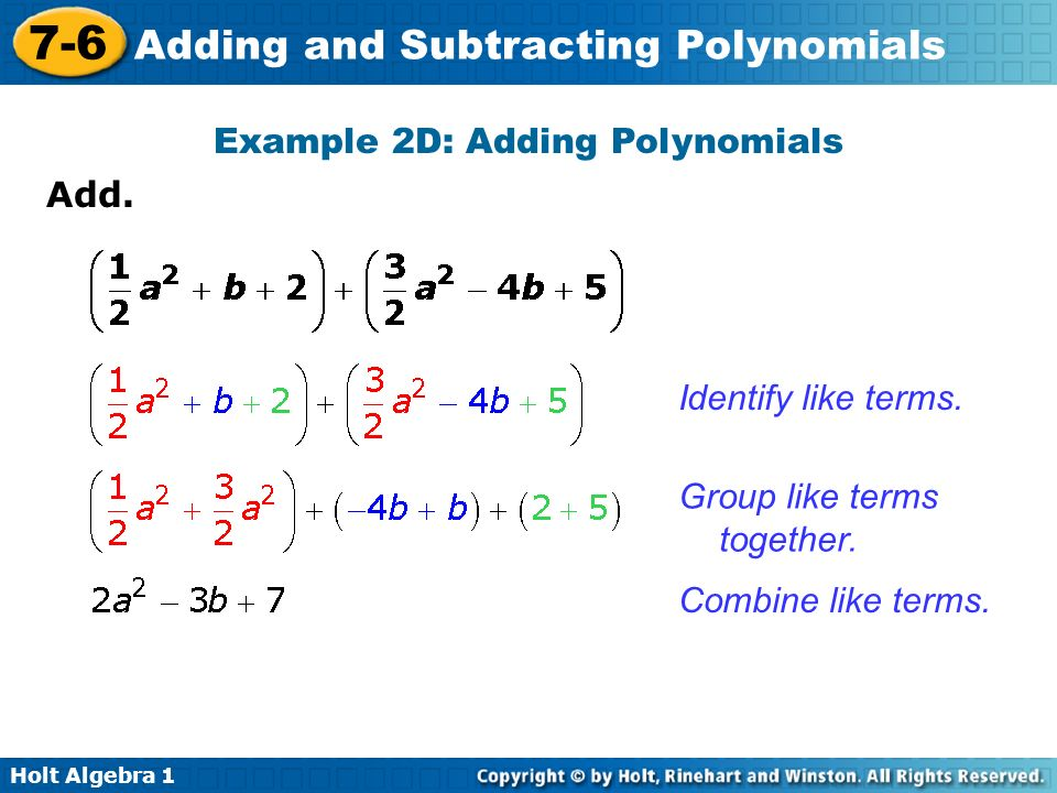 Example 2D: Adding Polynomials