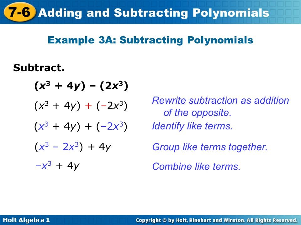 Example 3A: Subtracting Polynomials