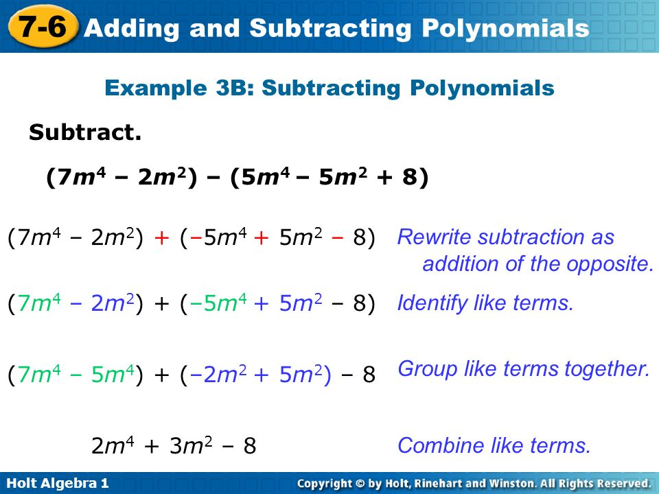Example 3B: Subtracting Polynomials