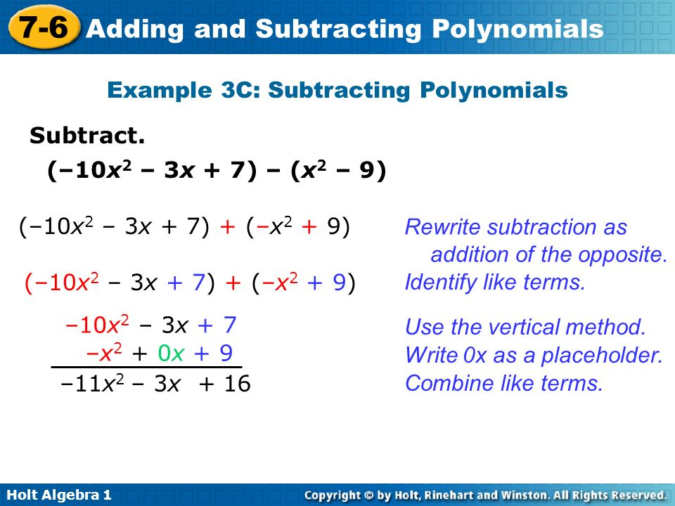 Example 3C: Subtracting Polynomials
