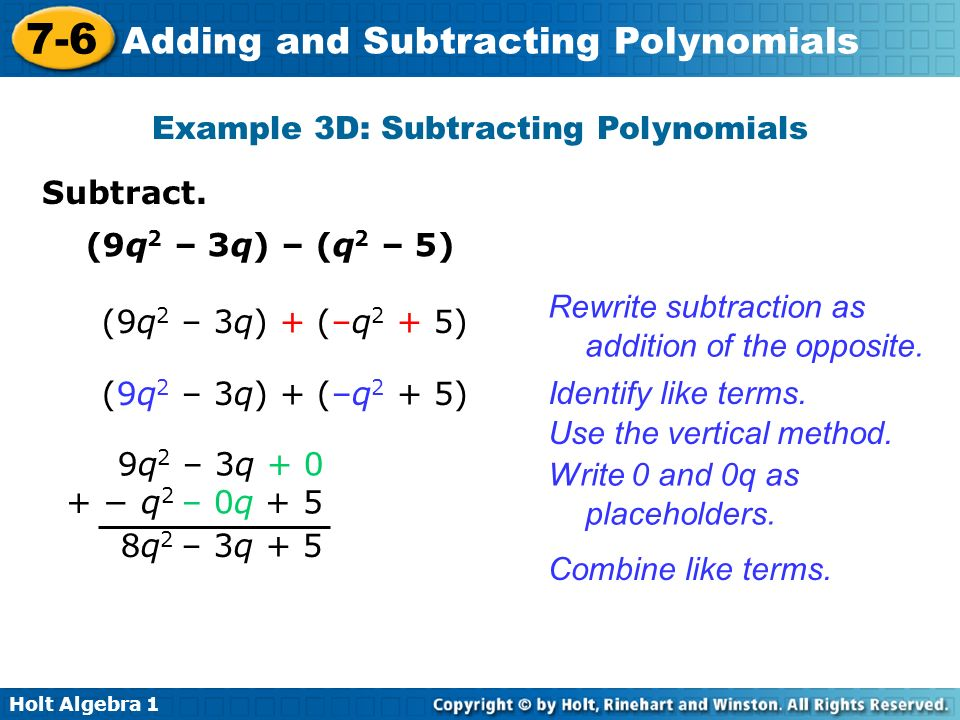 Example 3D: Subtracting Polynomials