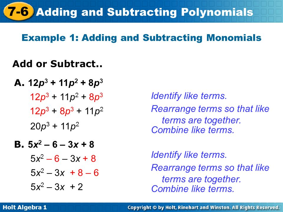 Example 1: Adding and Subtracting Monomials