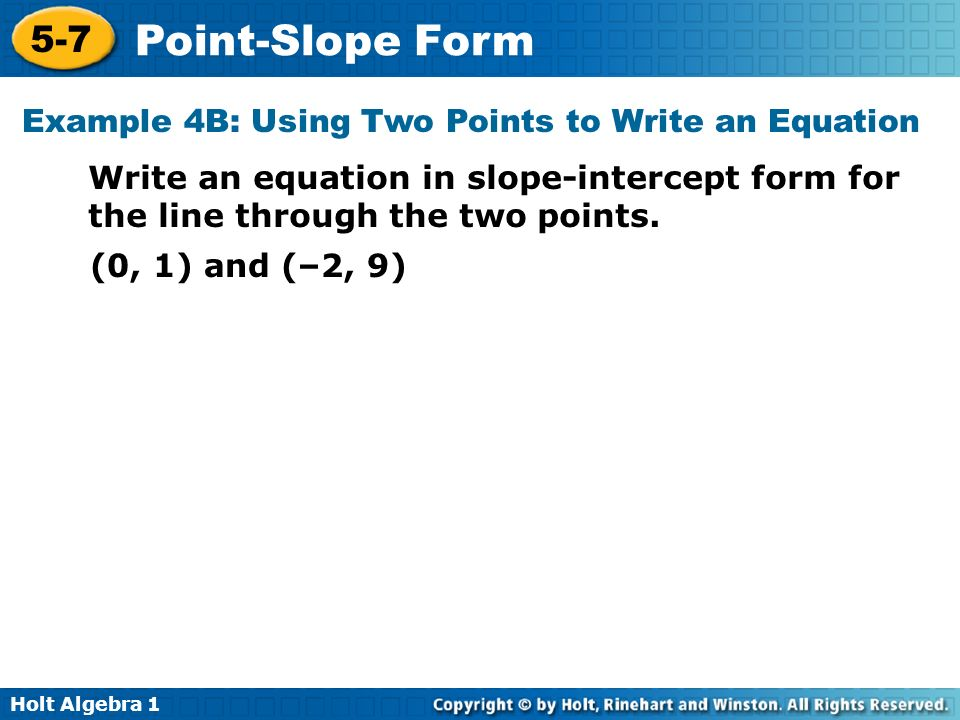 Example 4B: Using Two Points to Write an Equation