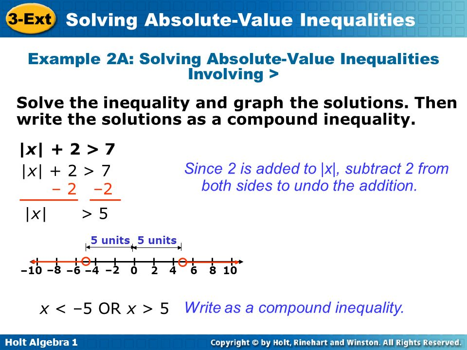 Example 2A: Solving Absolute-Value Inequalities Involving >