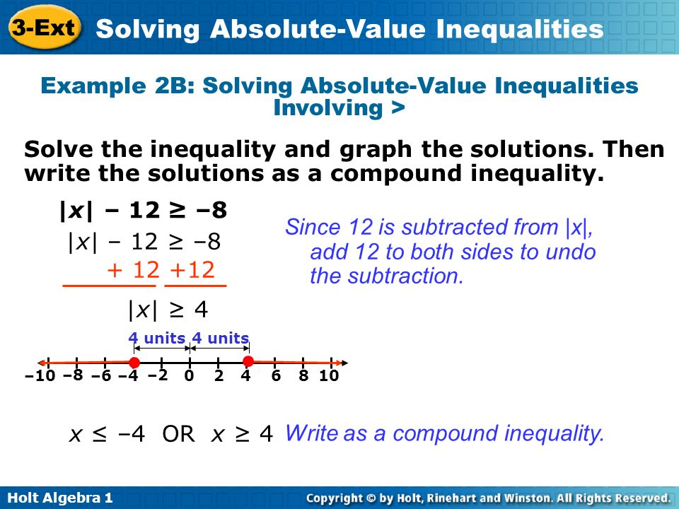 Example 2B: Solving Absolute-Value Inequalities Involving >