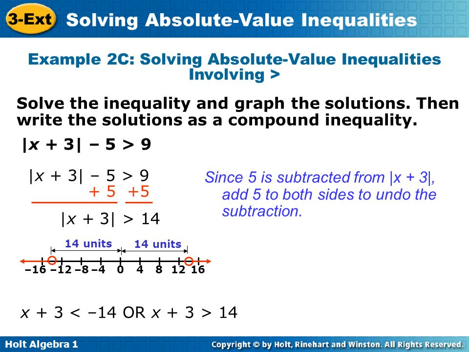 Example 2C: Solving Absolute-Value Inequalities Involving >