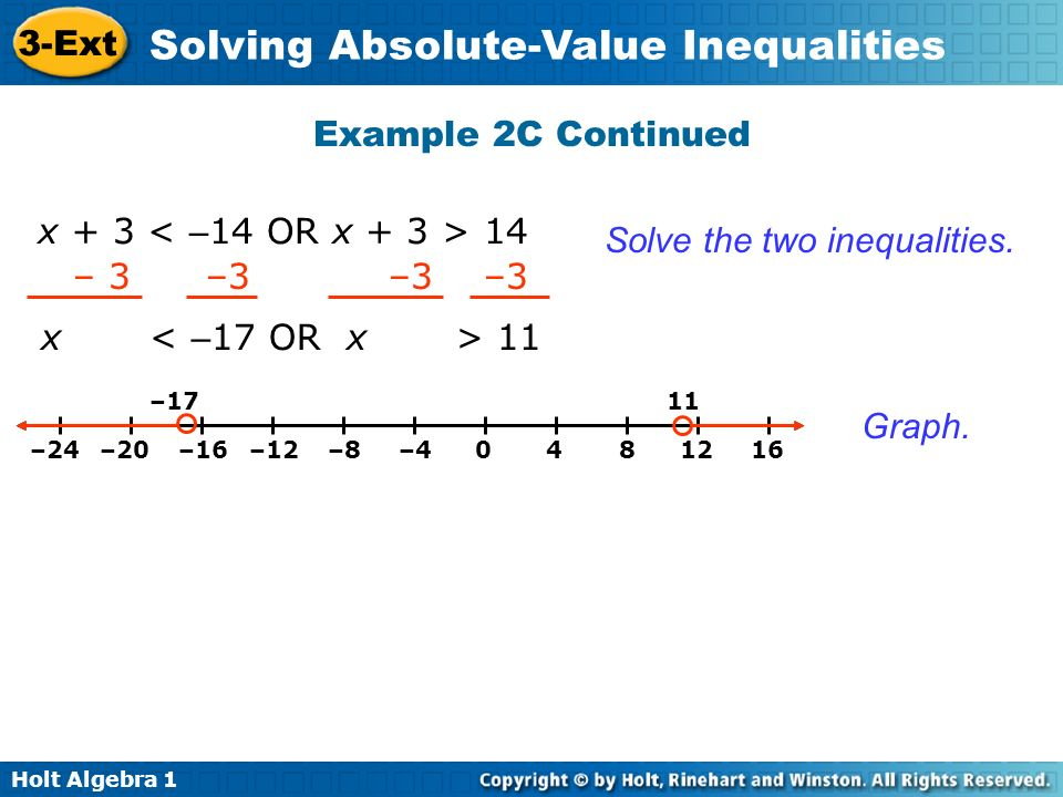 Solve the two inequalities. – 3 –3 –3 –3