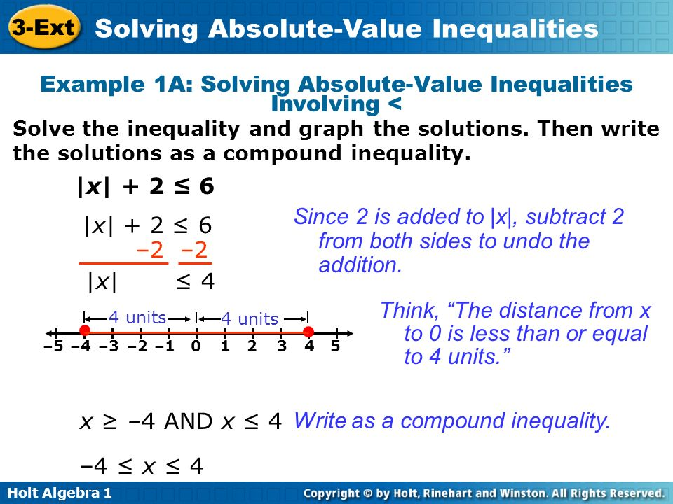 Example 1A: Solving Absolute-Value Inequalities Involving <