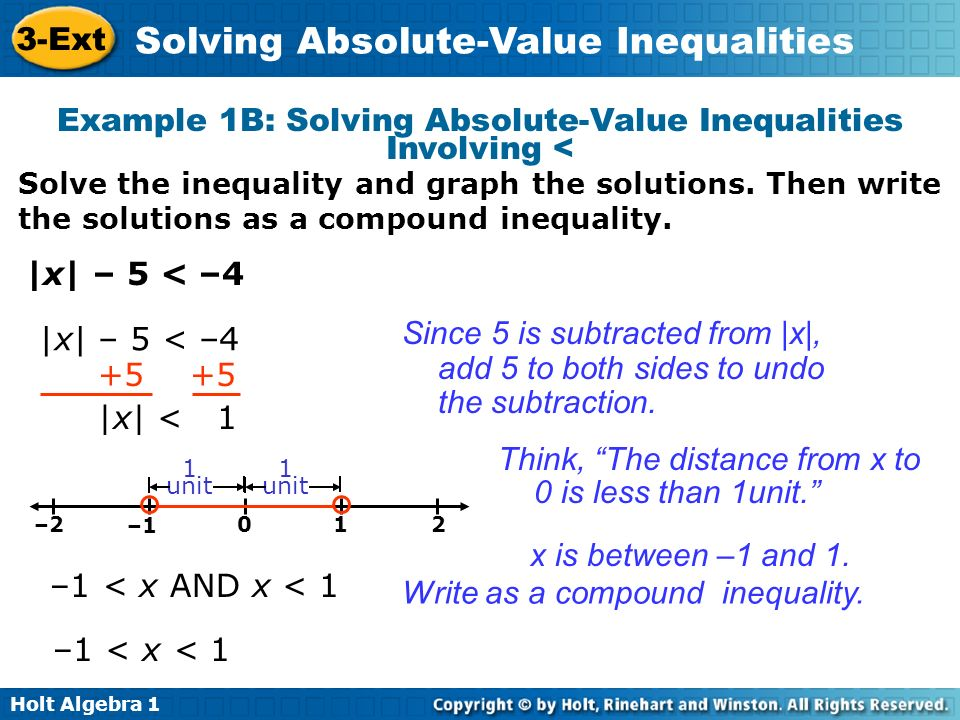 Example 1B: Solving Absolute-Value Inequalities Involving <