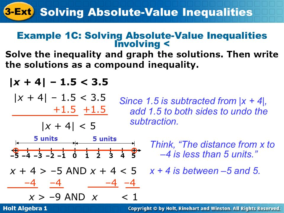 Example 1C: Solving Absolute-Value Inequalities Involving <